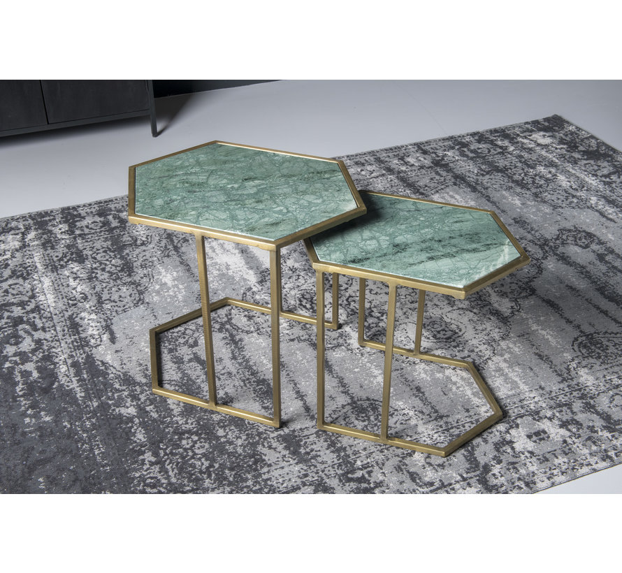 CT - Hexagon Marble Green Gold Set of 2