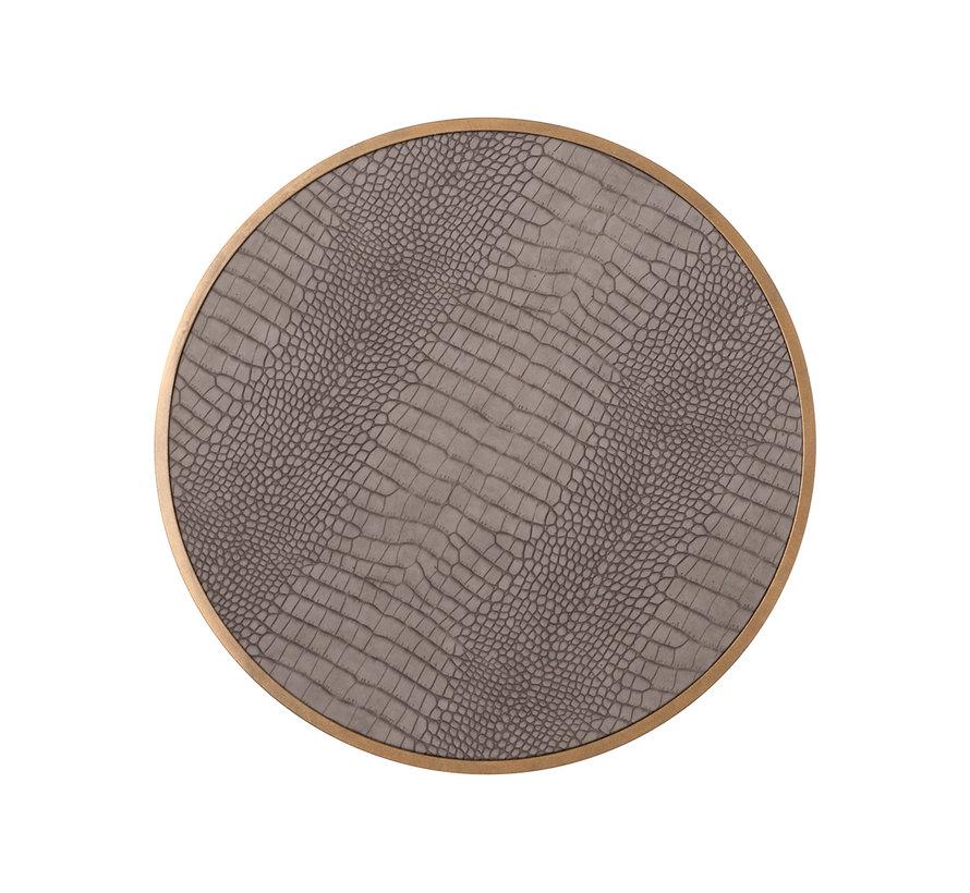 Bijzettafel Classio 45Ø Vegan Leather (Brushed Gold)