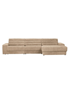 BePureHome Date Chaise Longue Rechts Grove Ribstof Travertin
