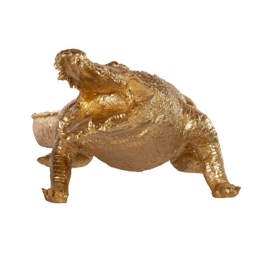 Crocodile deco object big (Goud)