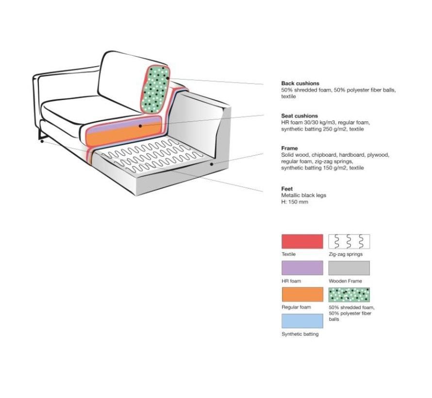 Bank Arezzo - Cognac - Microfiber - 1-Zits