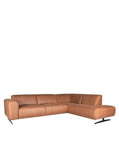 LABEL51 Hoekbank Modena - Cognac - Microfiber - 2,5-Zits + Ottomane