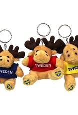 Schlüsselanhänger Plüsch Elch 'Sweden' (blau / rot / gelb)