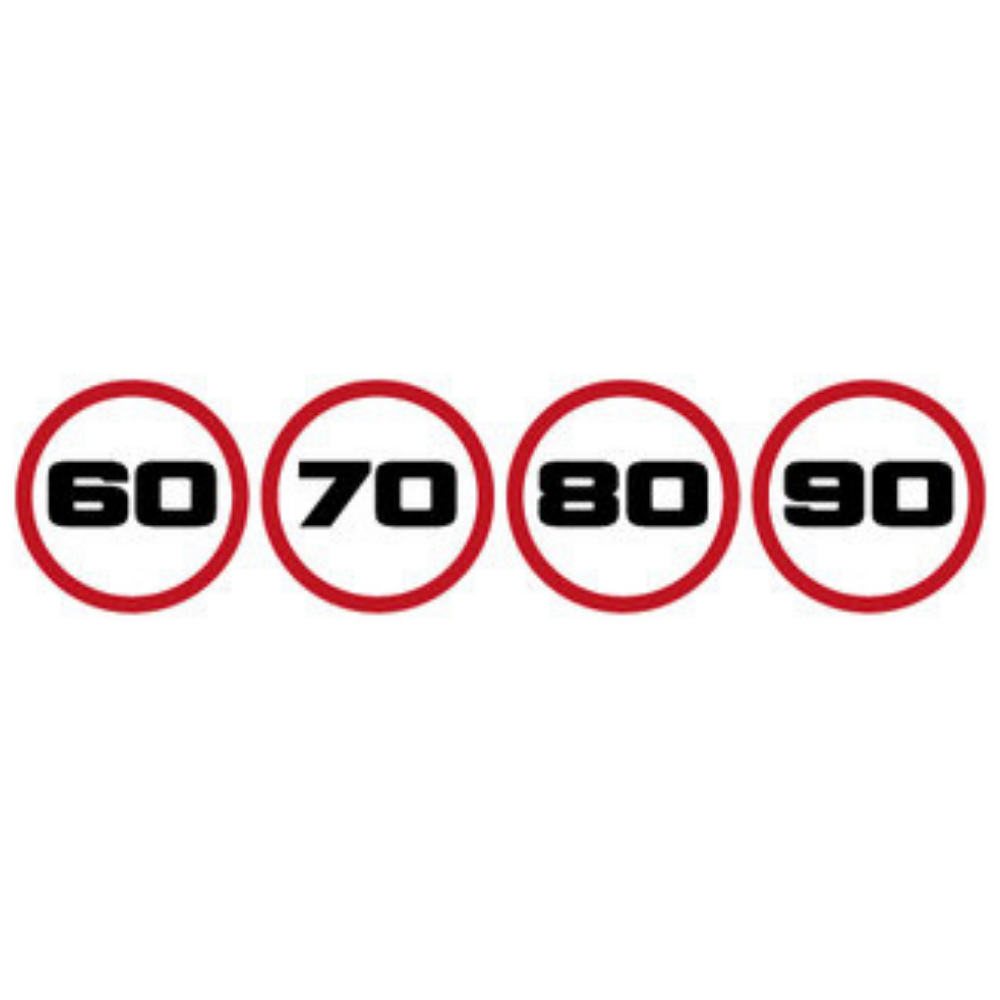 Snelheidsstickers 60 - 70 - 80 - 90