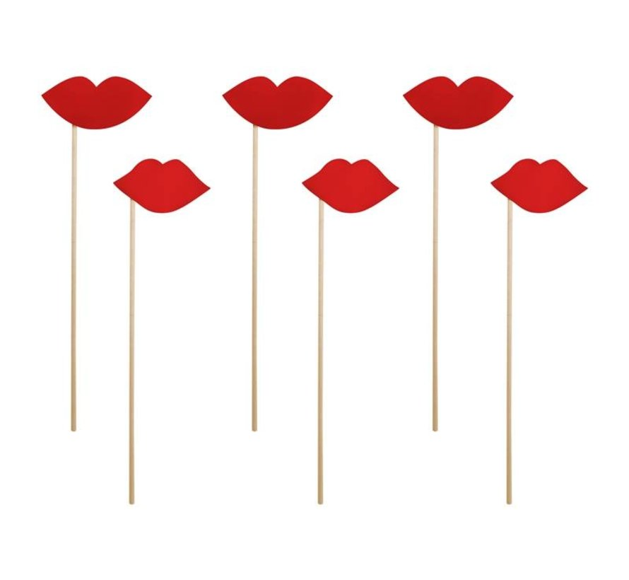 Party Prop - Lèvres sur un bâton( 6 pieces )