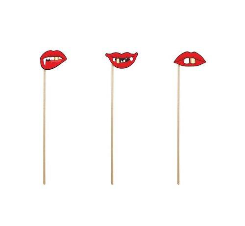 Party Deco Party Prop - Stok met griezel lippen ( 3 stuks )