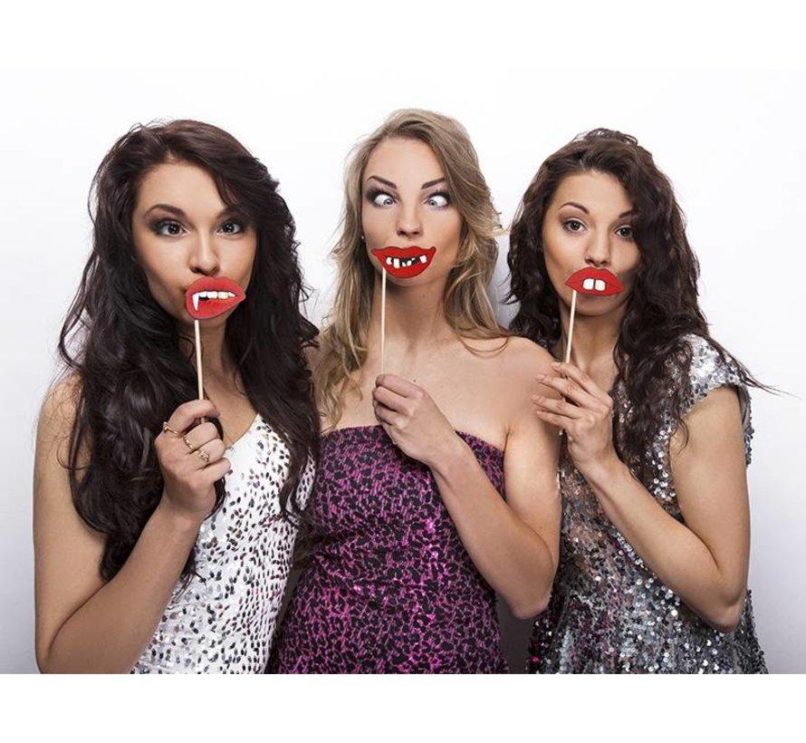 Party Prop - Stok met griezel lippen ( 3 stuks )