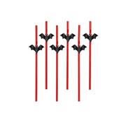 Party Deco Rietje met Vleermuis ( 6 stuks )