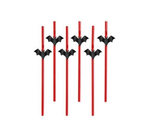 Party Deco Party Straw - Rietje met Vleermuis ( 6 stuks )