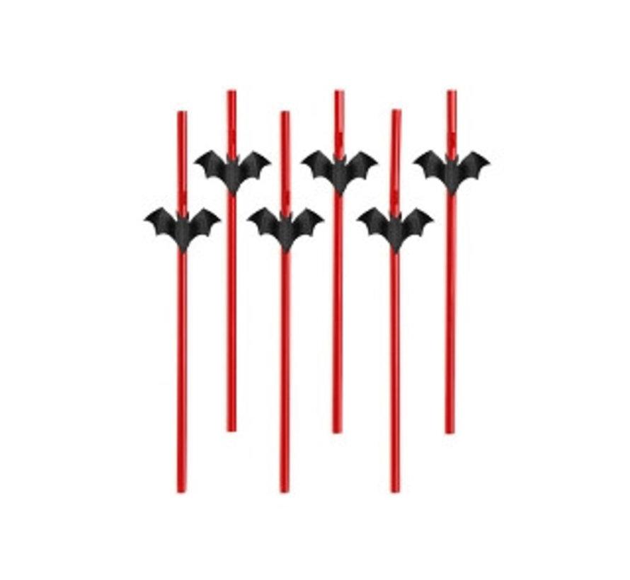 Party Straw - Rietje met Vleermuis ( 6 stuks )