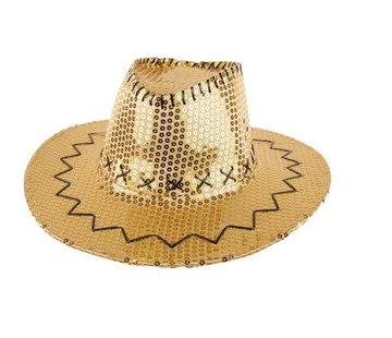 Partyline Chapeau de cowboy avec des paillettes d'or