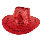 Partyline HAT COWBOY SEQUIN RED