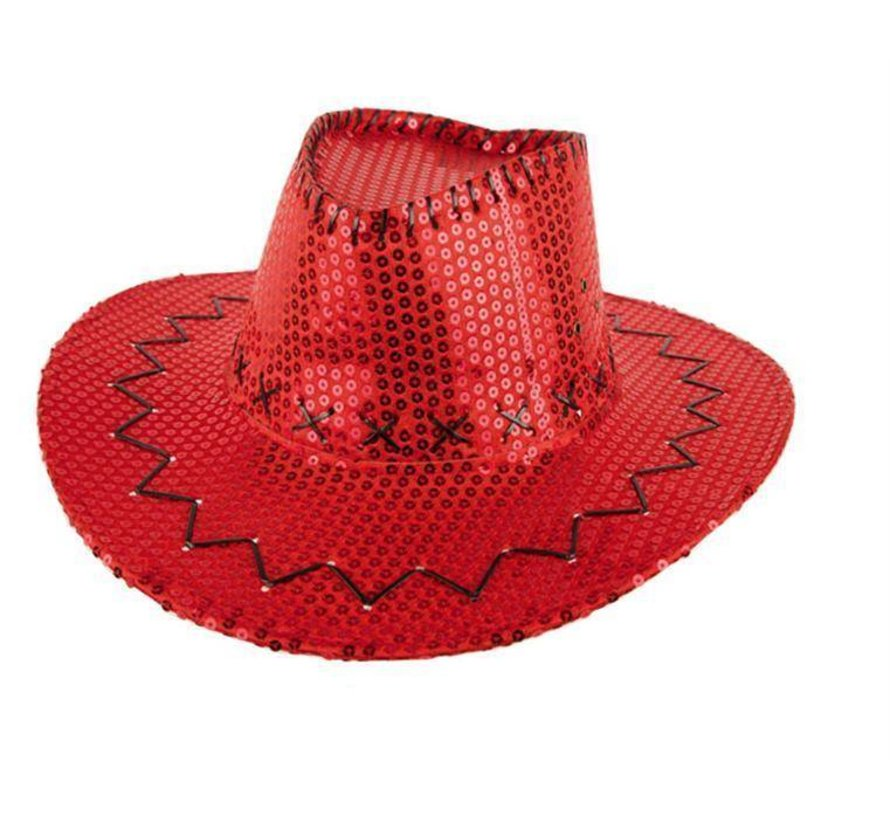 HAT COWBOY SEQUIN RED