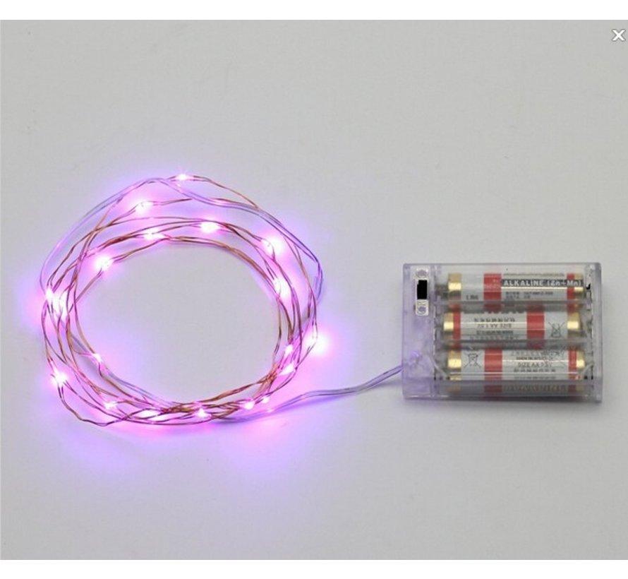 HighBrite 40 Led Ketting 2 m op batterijen - Roze