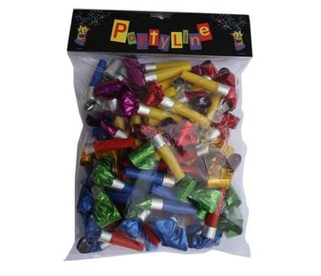 Partyline Metallic kleuren roltongen / uitblazers - 72 stuks