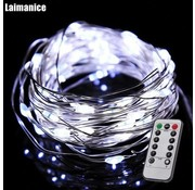 HighBrite 50 Led Necklace 5 m on batteries - White with remote control