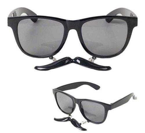 Partyline Glasses with Mustache Black | Black Glasses
