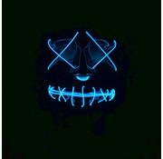 Wicked Costumes  El Wire Masker The Purge | Halloween Zwart masker met blauwe verlichting