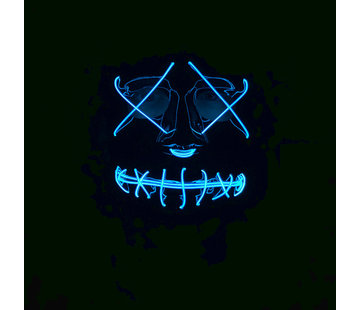 Wicked Costumes  El Wire Mask The Purge | Halloween Black mask with blue lights