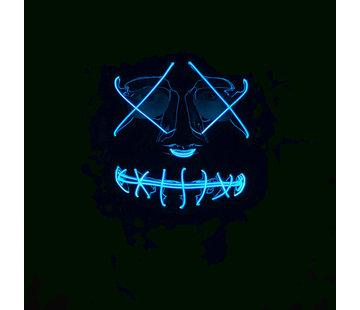 Wicked Costumes  Masque El Wire The Purge | Masque noir d'Halloween avec des lumières  bleu