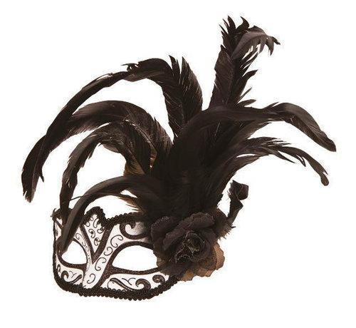Partyline Venetiaans Masker wit/zwart met bloem en pluim
