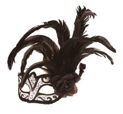 Partyline Venetian Mask white / black with flower and feather