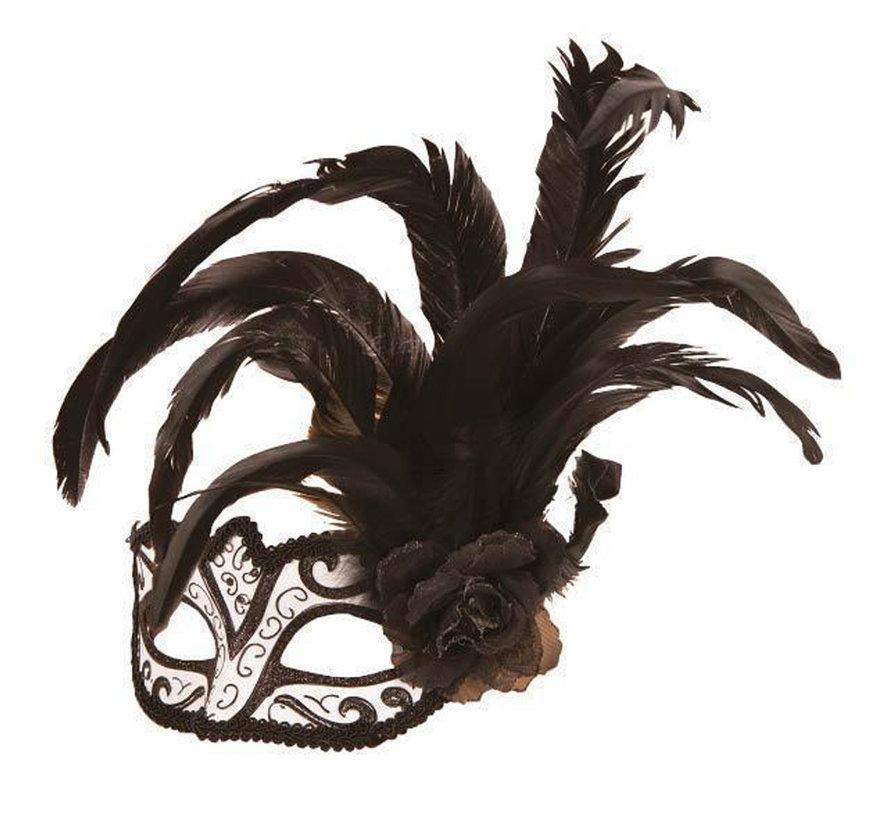 Venetiaans Masker wit/zwart met bloem en pluim