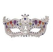Partyline Venetian White Mask with blue stones