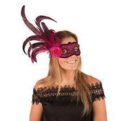 Partyline Venetiaans Masker fushia met bloem en pluim