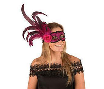 Partyline Venetian Mask fushia with flower and feather