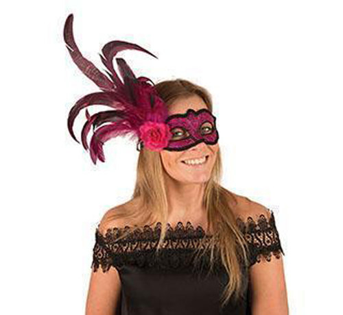 Venetian Mask fushia with flower and feather