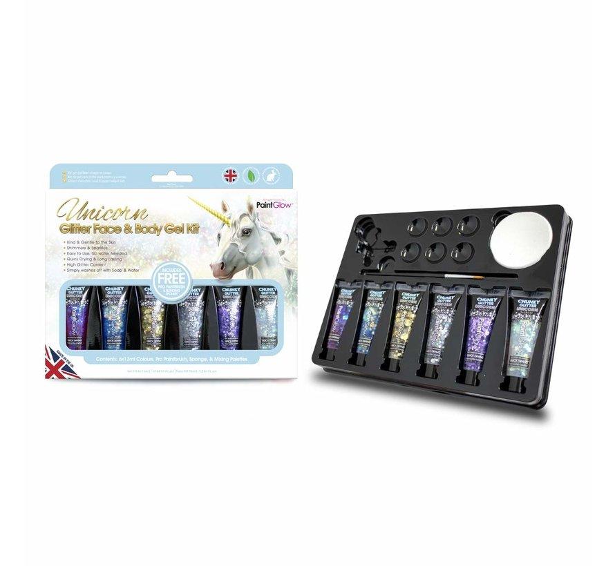 PaintGlow Unicorn Glitter Face & Body Gel Kit
