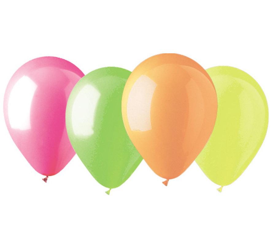 Ballons UV au néon - 100 pièces - 4 couleurs