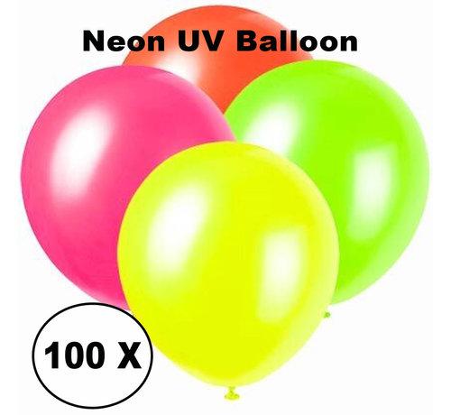 PaintGlow Ballons UV au néon - 100 pièces - 4 couleurs