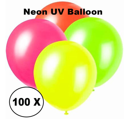PaintGlow Neon UV balloons - 100 pieces - 4 colors