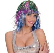Partyline Disco Pruik Tinsel Multicolor