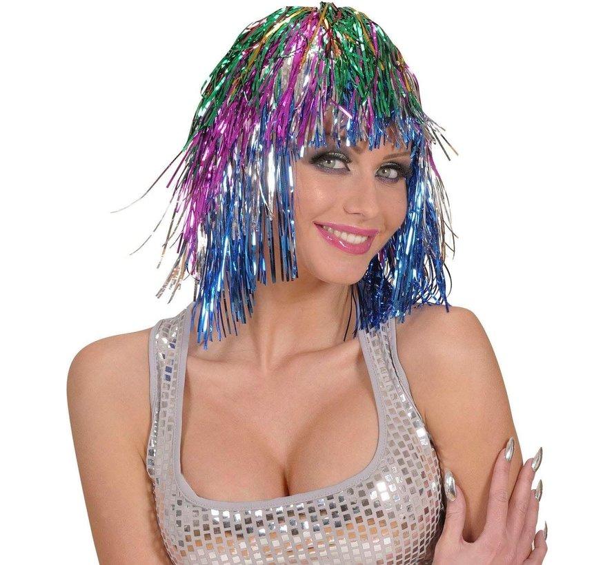 Disco Pruik Tinsel Multicolor