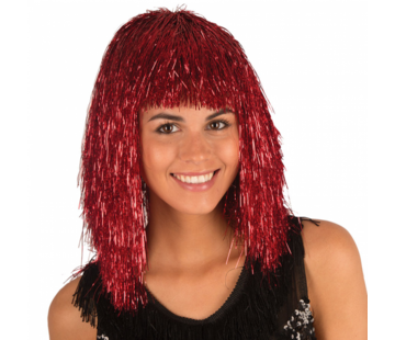 Disco wig tinsel Red