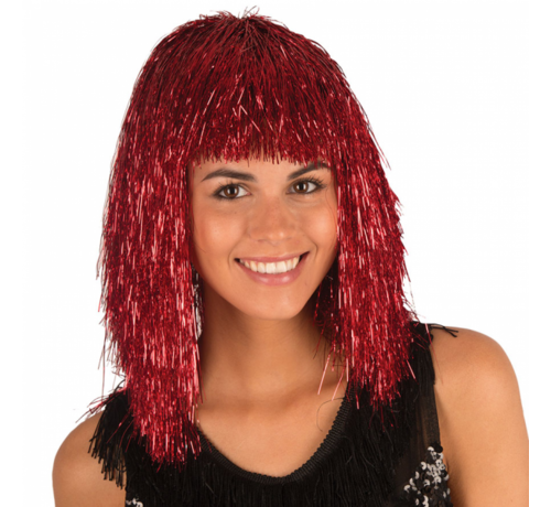 Partyline Disco wig tinsel Red