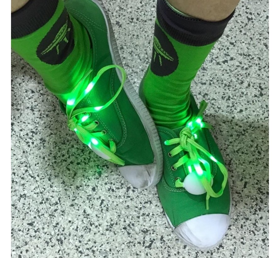Groene LED Schoenveters  - 120 cm