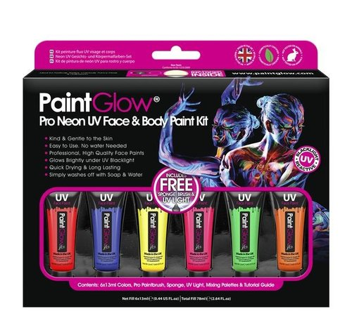 PaintGlow PaintGlow Pro Neon UV Face & Body Paint 6 x13ml -incl. brush, sponge and mini blacklight