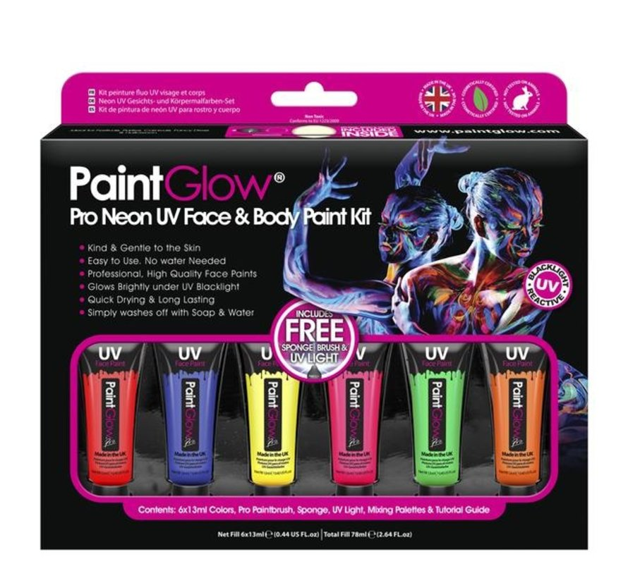 PaintGlow Pro Neon UV Face & Body Paint 6 x13ml -incl. brush, sponge and mini blacklight