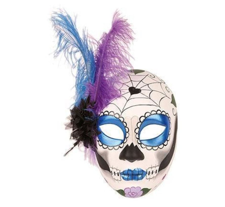 Day of dead mask woman with feather