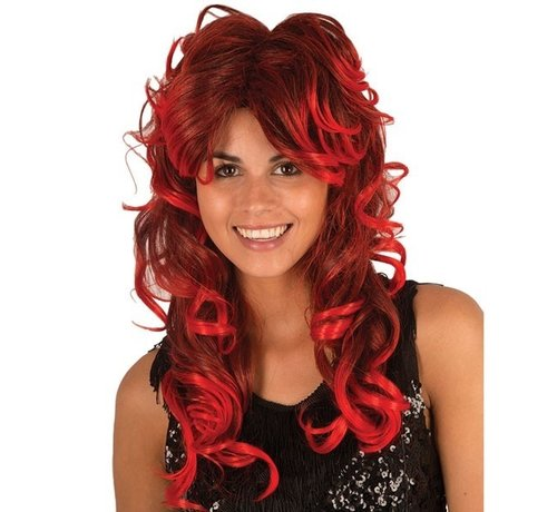 Partyline Wig long curls red / black