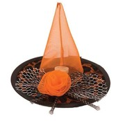 Partyline Hat Witch Mini Black/Orange + LED