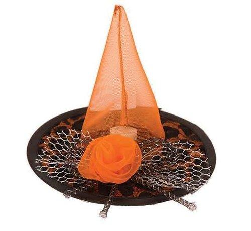 Partyline Hat Witch Mini Black/Orange + LED