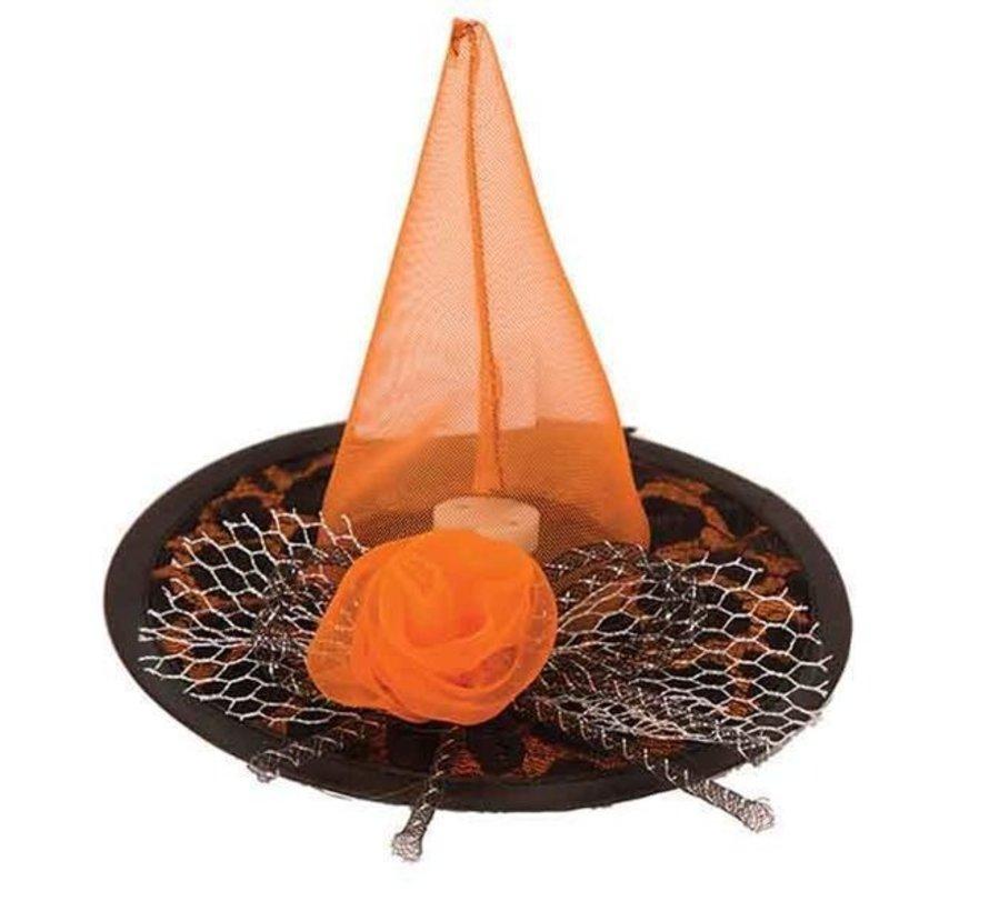 Chapeau Sorcière Mini Noir/Orange + LED
