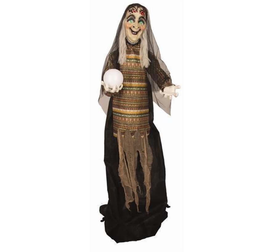 Deco standing fortune teller 170 cm | Light and sound Halloween decoration