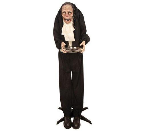 Partyline Bewegende oude butler 150 cm | Oude akelige knecht | Halloween deco