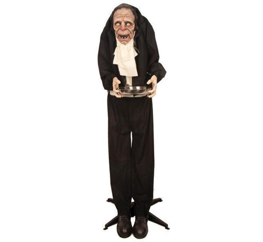 Bewegende oude butler 150 cm | Oude akelige knecht | Halloween deco